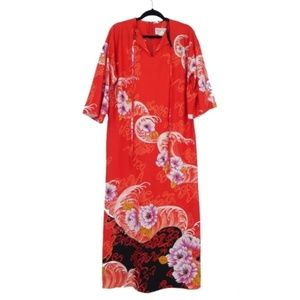 Vintage Orange Floral Loungewear Caftan Dress